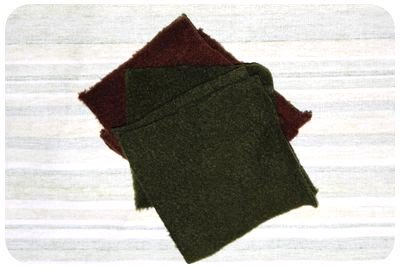 cut six squares fleece