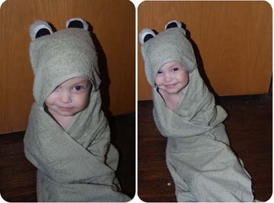 Ravelry: Owl Hooded Baby Towel pattern by Kara Gunza