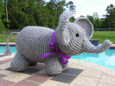 Amigurumi Elephant Pattern : Crocheted baby elephant