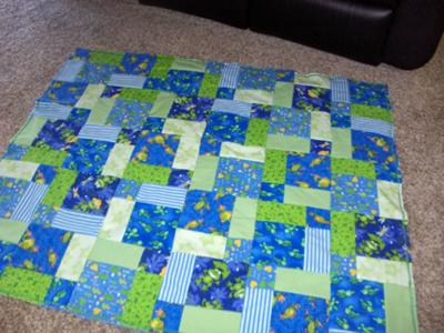 Turtle and Frog Rag Quilt