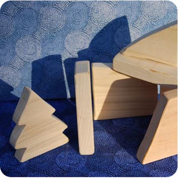 scrap wooden building blocks