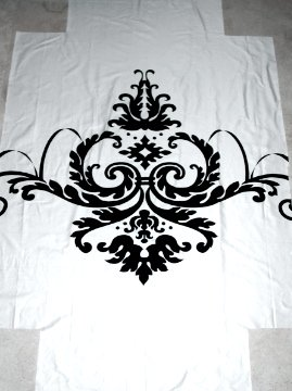 fitted sheet cut out from curtain