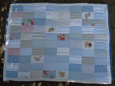 Pale blue and white quilt