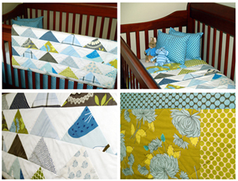 clockwise, from top left: with matching skirt & pillows,  in the crib, front details and reverse details